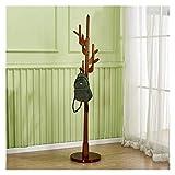 Abrigo de árbol de árbol de Perchero Percha de Piso de Madera Sólido Madera sólida Todo el Dormitorio de Madera Maciza Percha de Ropa para Sala de Estar (Color : Brown)