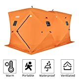 PEXMOR Ice Fishing Shelter, Pop-up Hub-Style for 8 Person, w/Portable Carrying Bag, Detachable Ventilated Windows, Zippered Door, Waterproof Oxford Fabric (Orange for 8-9 Person)