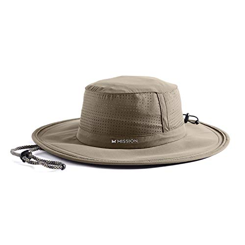 """Mission Cooling Booney Hat- UPF 50, 3"""" Wide Brim, Adjustable Fit, Mesh Design for Maximum Airflow and Cools When Wet- Khaki"""