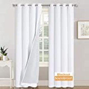 RYB HOME Soundproof Divider Curtains Blackout Curtains for Living Room Window, Inside Felf Linings Insulted Heat Cold Noise Shade Drapes for Sliding Glass Door, W 52 x L 95 inches, White, 2 Pcs