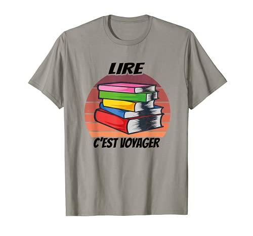 Roman Littérature Liseur Liseuse Livre Bouquin Voyageur T-Shirt