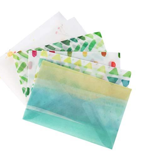 TOYANDONA 12PCS Pergamino vegetal Carta de agradecimiento translúcida Sobres de papel Flor Polaco Sobres para la invitación Tarjeta postal Cupón de cupón de descuento (6 patrones)