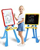 STEAM Life Art Easel for Kids   4 in 1 Magnetic Board, Chalkboard, Painting Easel, and Drawing White Board for Kids   Includes Magnetic Letters and Numbers   Easy Storage and Adjustable Height