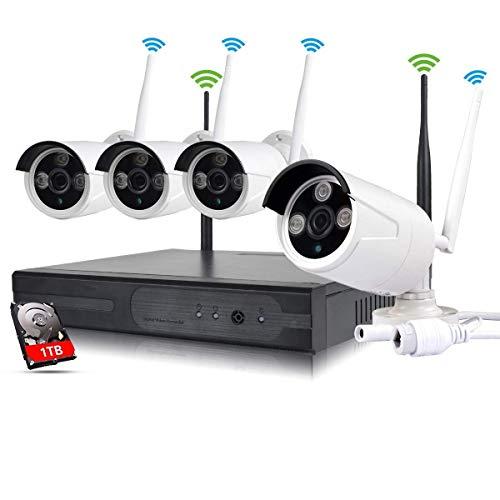EDSSZ Unità disco rigido da 1 TB interna/esterna 4 canali NVR wireless WIFI Kit HD 1280 * 960P IR Telecamera day/night vision IP Telecamera di sorveglianza P2P CCTV EDS-WIFIKIT04-960P-1TB