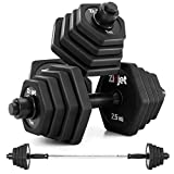 Zicjet 66Lbs Dumbbells Set, Adjustable Weights Solid Steel Dumbbells Pair for Adults Home Fitness Equipment Gym Workout Strength Training with Connecting for Men Women Used as Barbells(Black)