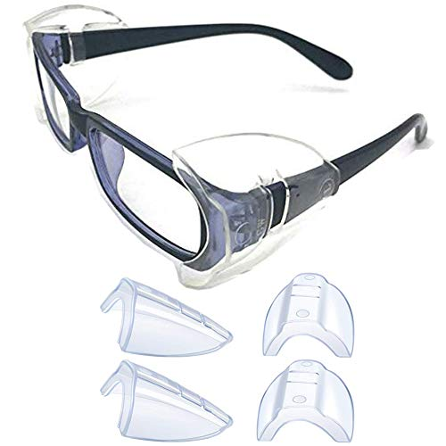 2 Pairs Glasses Side Shields,Slip on Clear Side Shields, Fits Medium to Large Eyeglasses