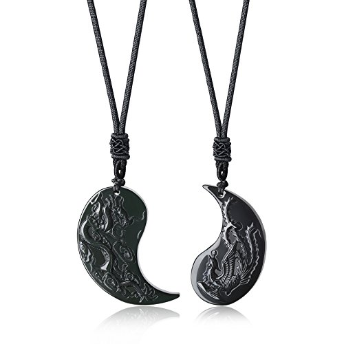 COAI Colgantes para la Pareja Yin Yang Dragón y Fénix de Obsidiana Negra