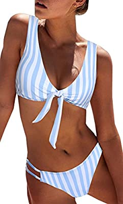 Updated:now you can adjust the tie front according to your cupsize ;The swimwear made up of polyester and spandex, Soft and comfortable, recommend Hand Wash and Hang Dry with Cold Water. The bikini set with slightly padded , Unadjustable strap , is g...