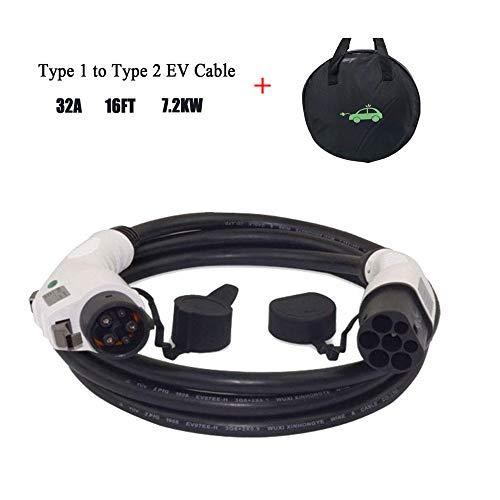 K.H.O.N.S. Tipo 1 a Tipo 2 32 A EV Cable de Carga para Vehículos Eléctricos, 7.2KW, IEC 62196 a SAE J1772, Adaptador para Vehículos Tipo 1, TUV 5M Cable y Bolsa