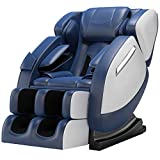 SMAGREHO Massage Chair Recliner with Zero Gravity, Full Body Air Pressure, Bluetooth, Heat and Foot Roller Included, Blue