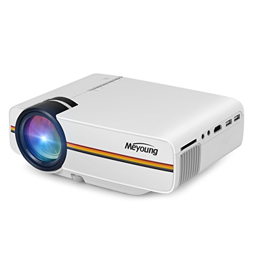 Meyoung TC80 LED Mini Projector, Home Theater LCD HD Movie Video Projectors Support 1080P TV HDMI Outdoor Indoor Movie Night, DVD Player, Smartphone, Laptop, Games (White)