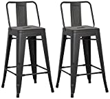 AC Pacific Modern Light Weight Industrial Metal Bucket Back Barstool, 30' Seat Height Counter Stool (Set of 2), Matte Black Finish