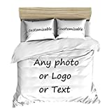 LEECUM Custom Photo Duvet Cover Set with 2 Pillowcase Print Any of Your Design Bedroom Bedding for Family Personalized Bedclothes (Twin (68'x85'))