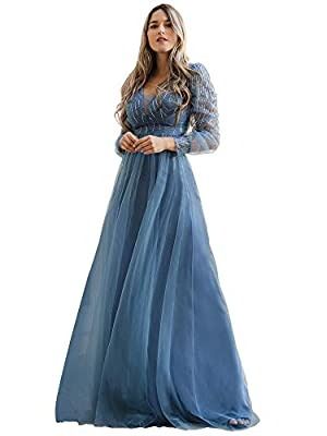 Fully lined, no built-in bras, low stretch Features: V neck, empire waist, long sleeve, sequin and tulle, A-line, floor-length, long party gowns, formal dress Maxi sequin and tulle evening dress with long sleeve, the dress makes you look charm, this ...