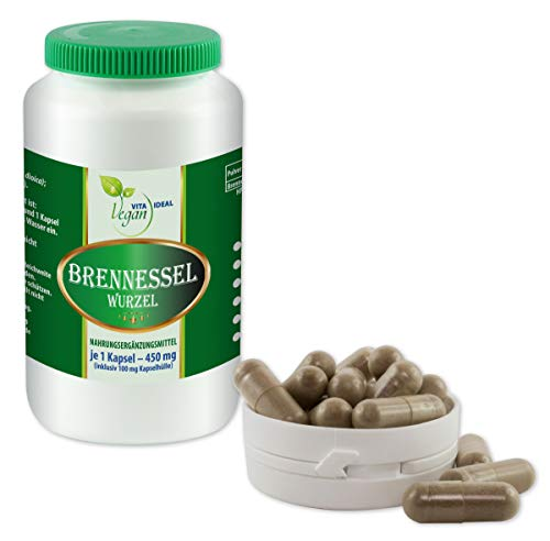 VITAIDEAL VEGAN® Brennessel Wurzel 180 pflanzliche Kapseln je 400 mg, rein natürlich ohne Zusatzstoffe.