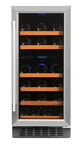 Smith & Hanks 32 Bottle Under Counter Wine Refrigerator, Dual Temperature Zones, 15 Inches Wide, Built-In or Free Standing