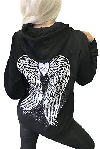 Demi Loon Sexy Angel Wings Tattoo Roses Hoodie Graphic Sexy Women's Pullover Motorcycle Hooded Sweatshirt