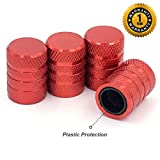 CKAuto Tire Valve Stem Caps, Red, 4 pcs/Pack, Anodized Aluminum Tire Valve Cap Set, Corrosion Resistant, Universal Stem Covers for Cars Trucks Motorcycles SUVs and Bikes 5 Dollar Item
