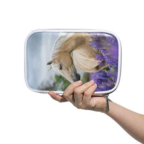 Funnyy - Astuccio multifunzionale con cerniera, motivo: animali di lavanda e cavalli, da viaggio,...