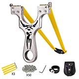 Wrist Rocket,Metal Slingshot Professional Hunting Slingshot with Heavy Duty Launching Bands, High Velocity Catapult(Deluxe Edition)