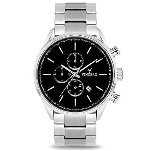 Vincero Luxury Chrono S Herren Armbanduhr - 43mm Chronograph Uhr Stahlband - Japanisches Quarz Uhrwerk (Schwarz/Silber Stahl)
