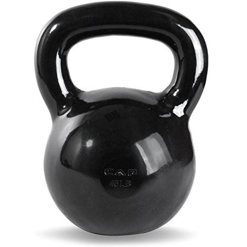 CAP Barbell Black Powder Coated Cast Iron Kettlebell, 45 lb