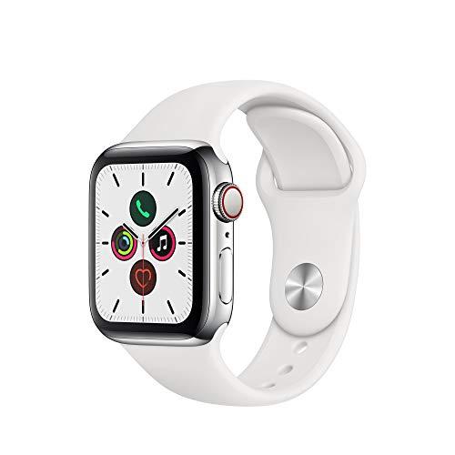 Apple Watch Series 5 (GPS+Cellular, 40 mm) Boîtier en Acier Inoxydable - Bracelet Sport Blanc