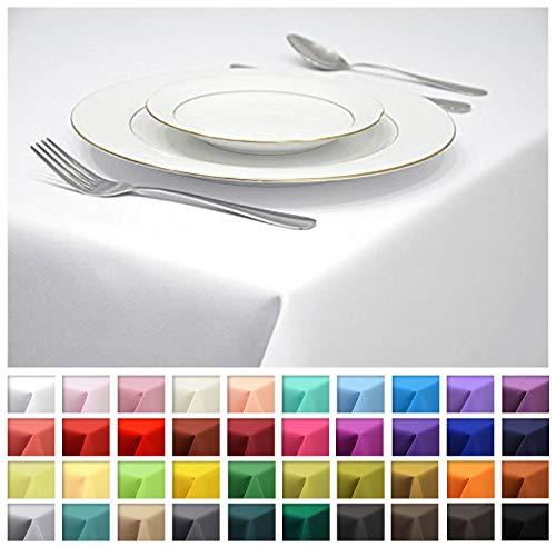 Rollmayer Tischdecke Tischtuch Tischläufer Tischwäsche Gastronomie Kollektion Vivid (Weiß 1, 140x240cm) Uni einfarbig pflegeleicht waschbar 40 Farben