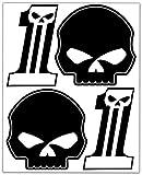 Biomar Labs® Set de 4pcs Pegatina Cráneo Calavera Start Racing Number 1 Número Carreras Vinilo Adhesivo para Motocicletas Coches Auto Moto Casco Scooter Ciclomotores Bicicletas Ordenador Portátil D 56