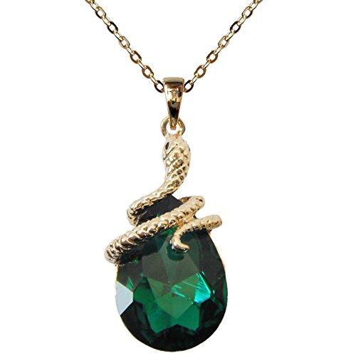 Navachi 18k Gold Plated Water Drop Crystal Green Zircon Az6003p Snake Pendant Necklace 16'+2'