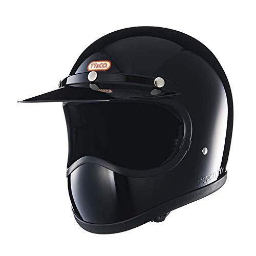 TT&CO. トゥーカッター スタンダード ブラック フルフェイスヘルメット ヴィンテージ フルフェイス ビンテージ ヘルメット SG/PSC/DOT 乗車用ヘルメット おしゃれ ハーレー モトクロス