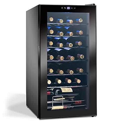 Display4top Frigorifero Cantinetta Frigo per Vini e bevande, Supporta 28 bottiglie, Porta in vetro...