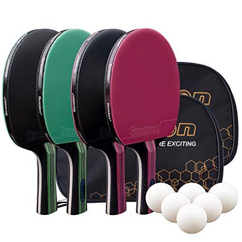 Senston Tischtennis Set, 4 Tischtennisschläger, 6 Tischtennis-Bälle und 2 Tasche