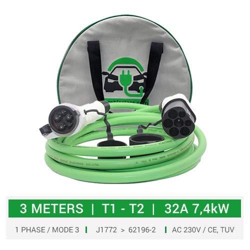 Cable de carga tipo 1 a tipo 2 para coches eléctricos, PHEV. 32A. - 3 metros