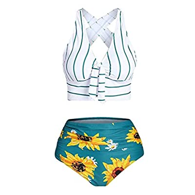 ♥swimsuits for women two piece bathing suits ruffled flounce top with high waisted bottom bikini set swimsuit off shoulder pieces bandeau waist suit cut stripe printing padded push up sets tummy control plus size print ladies vintage lace beach swimw...