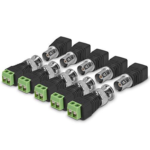 kwmobile 10x Connettore BNC Terminal Block - Set 5x Adattatori maschio e femmina - Adattatore BNC cavo coassiale per videocamera CCTV cablaggio reti