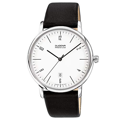 DUGENA Herren-Armbanduhr Dessau, Quarz, Edelstahlgehäuse, Hart-Acrylglas, Bauhaus-Design, 3 bar (Lederband schwarz)