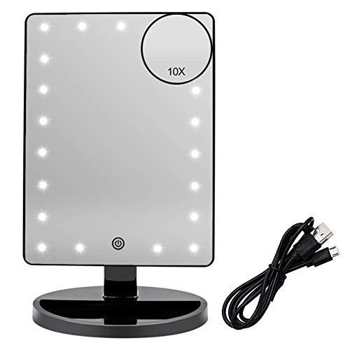 Espejo Maquillaje con Luz LED Aumento 1X/10X, Espejo Cosmético Iluminado de Mesa,180 Rotación, Brillo Adjustable Espejo de Tocador Portátil