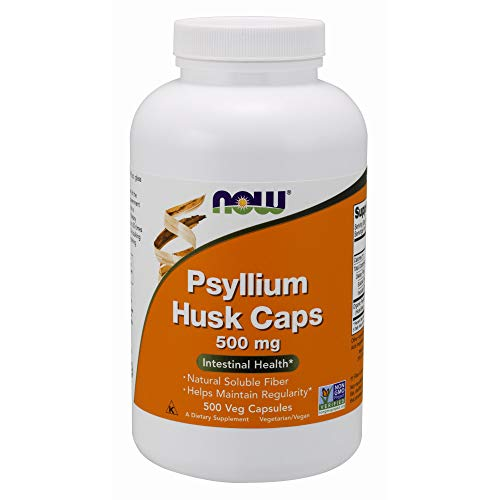 NOW Supplements, Psyllium Husk Caps 500 mg, Non-GMO Project Verified, Natural Soluble Fiber, Intestinal Health*, 500 Veg Capsules