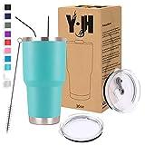 Y·J&H 30oz (850ml) Doppelwandig Vakuum Isolierter Autobecher, Edelstahl Reiseflasche, Thermobecher Kaffee to Go mit 2 Spritzfestem Deckel 2 Strohhalm, Rohrbürste,BPA Free - Türkis