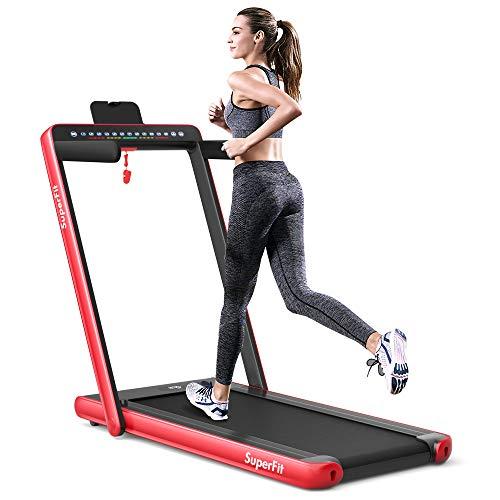 Goplus 2 in 1 Folding Treadmill with Dual Display, 2.25HP Superfit Under Desk Electric Pad Trea…