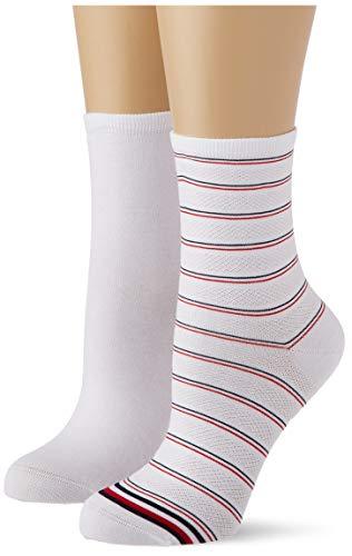 Tommy Hilfiger Preppy Women's Short Socks (2 Pack) Calzini, Bianco, 35-38 Donna