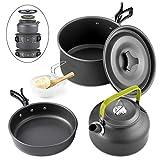 10 Pcs Cookware Casseroles Camping Poêlé en Aluminium Kit de Cuisine avec Assiette Bol Ustensiles de Cuisine...