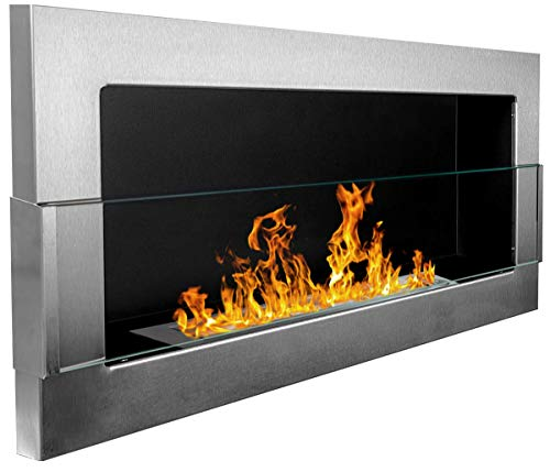 Bio Ethanol Fire BioFire Fireplace Modern 900 x 400 Stainless steel with glass