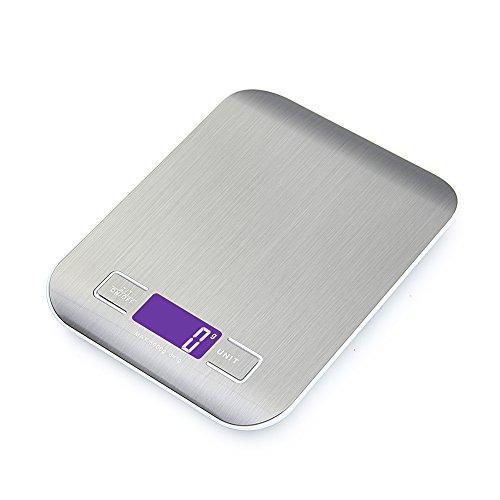 GPISEN Bilancia da Cucina Smart Digitale con Funzione Tare,5kg/11 lbs Professionale Acciaio Inox...