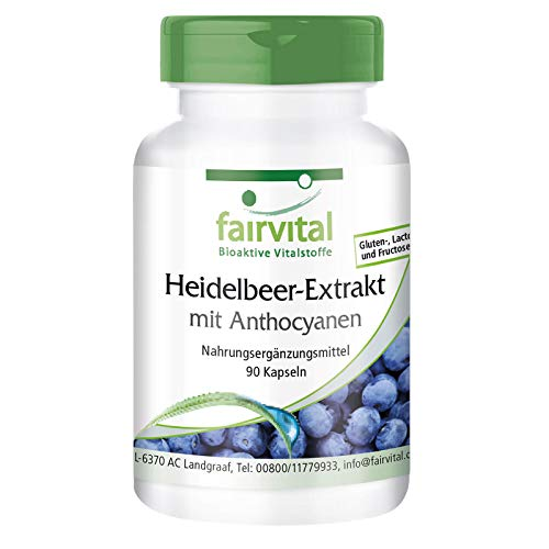 Heidelbeer-Extrakt mit Anthocyanen - 90 Kapseln - HOCHDOSIERT - 25% Anthocyane - VEGAN