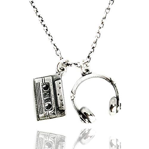 ViMon gioielli, COLLANA argento vero 925,ciondoli pendenti cuffie dj, cassetta musicale.Stile pop rap rock. Lunghezza catena su misura.