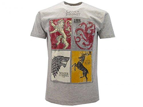T-Shirt Camiseta BLASON ARMAS 4 FAMILIAS Serie de Televisión JUEGO DE TRONOS Game Of Thrones - 100% Oficial HBO (M Medium)
