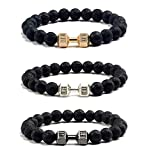 VANGOT 3Pcs Dumbbell Beaded Bracelets for Men Women Lava Stone Bracelet Set Elastic