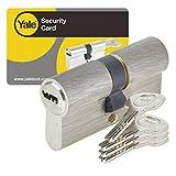 Yale YC1000+ Cylindre de Serrure Débrayable 30x30 mm pour Porte Extérieure/Entrée, 6 Goupilles, 4 Clés, Nickelé